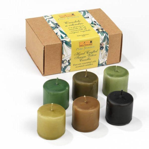 6 handgefertigte Toskana Duftkerzen